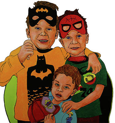 Wall Art - Painting - My Three Grandsons by Rich Travis