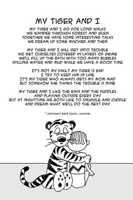Drawing - My Tiger And I by John Haldane