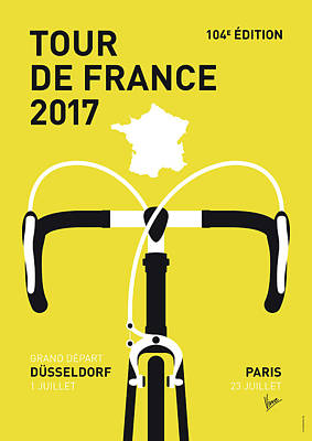 Bicycling Digital Art - My Tour De France Minimal Poster 2017 by Chungkong Art