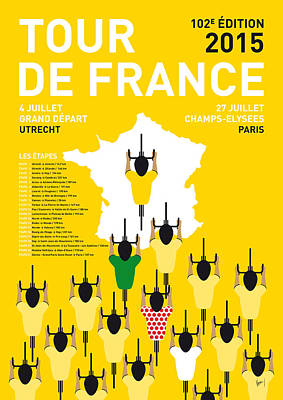 Cycle Digital Art - My Tour De France Minimal Poster Etapes 2015 by Chungkong Art