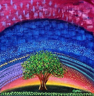 Tree At Nightfall Art Print