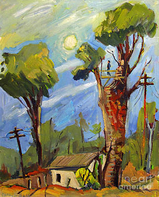 My Treehouse Behind The Garage On Madison Original by Charlie Spear