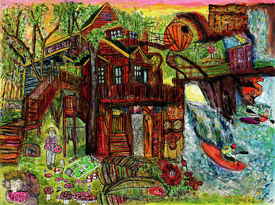 Painting - My Treehouse Paradise  by Lindsay Strubbe