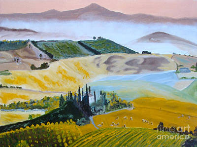 Painting - My Tuscan Valley View by Rod Jellison