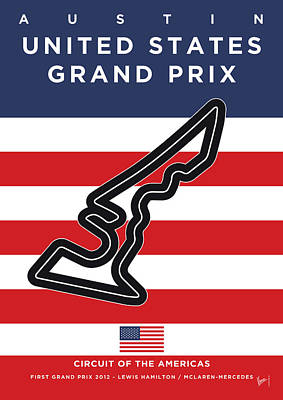 Edition Digital Art - My United States Grand Prix Minimal Poster by Chungkong Art