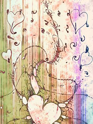 Abstract Movement Digital Art - My Valentine by Linda Sannuti