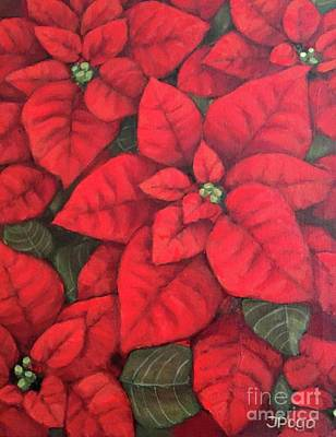 Painting - My Very Red Poinsettia by Inese Poga