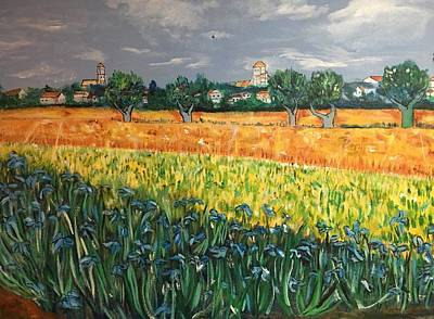 Painting - My View Of Arles With Irises by Belinda Low