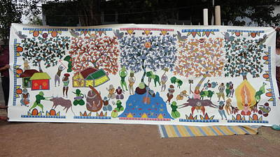 Gond Art Painting - My Village 2005 by Ram Singh Urveti