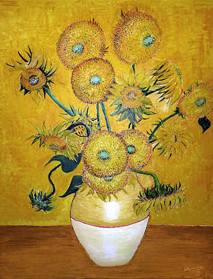 Sunflowers Drawings - My Vincent - Still Life Vase with 15 Sunflowers by Jose A Gonzalez Jr
