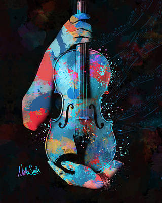 My Violin Whispers Music In The Night Print by Nikki Marie Smith