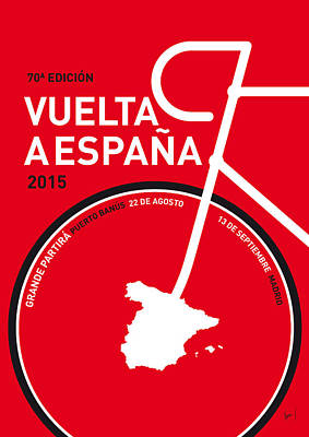 Bicycling Digital Art - My Vuelta A Espana Minimal Poster 2015 by Chungkong Art