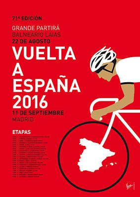 Bicycling Digital Art - My Vuelta A Espana Minimal Poster 2016 by Chungkong Art
