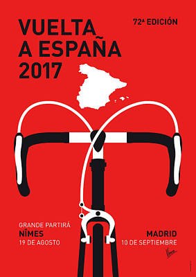 Tour Digital Art - My Vuelta A Espana Minimal Poster 2017 by Chungkong Art