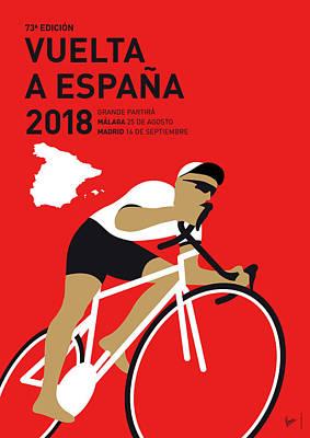 Spain Digital Art - My Vuelta A Espana Minimal Poster 2018 by Chungkong Art