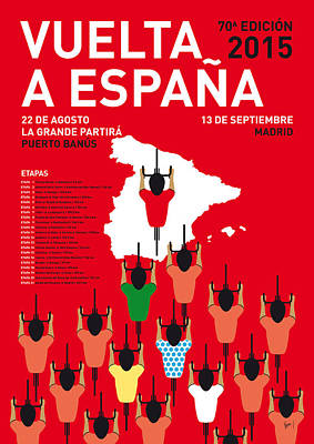 Cycle Digital Art - My Vuelta A Espana Minimal Poster Etapas 2015 by Chungkong Art