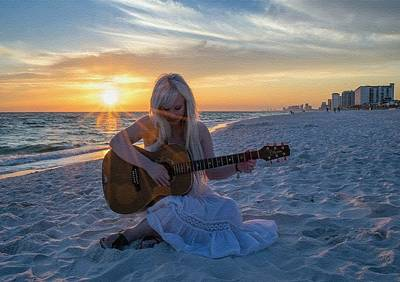 Music Royalty-Free and Rights-Managed Images - My Weeping Guitar Catus 1 No. 1 - Grave For Guitar On A Sunset Beach  L B by Gert J Rheeders