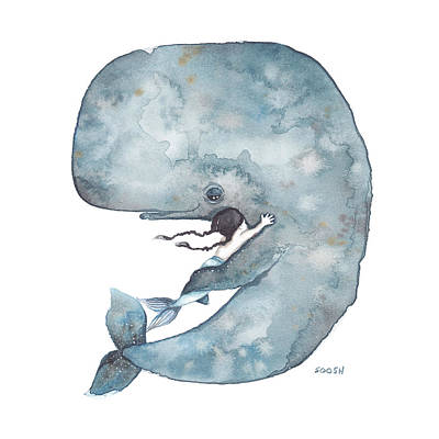 Watercolor Painting - My Whale by Soosh