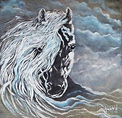 Painting - My White Dream Horse by AmaS Art
