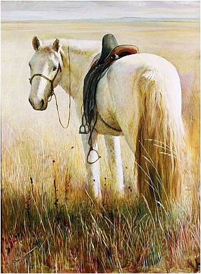 Painting - My White Horse  by Ji-qun Chen