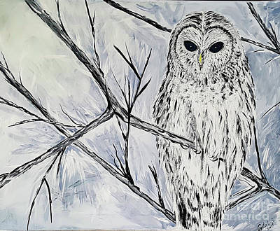 Painting - My White Owl by Crystal Schaan