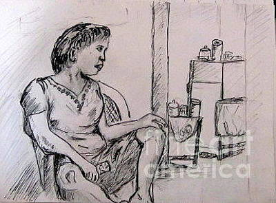 Drawing - My Wife Watching Tv by Jason Sentuf