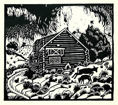 Drawing - My Wyoming Cabin In Winter by Dawn Senior-Trask