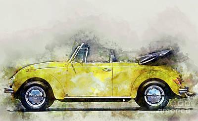 Vw Painting - My Yellow Bug by Jon Neidert