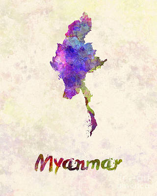 Southeast Asia Painting - Myanmar In Watercolor by Pablo Romero