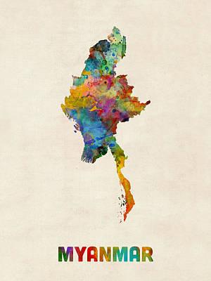 Myanmar Digital Art - Myanmar Watercolor Map Burma by Michael Tompsett