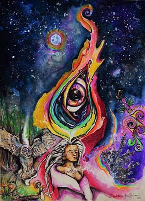 Cosmic Space Drawing - Mycelial Universe by Mandala Sunfire