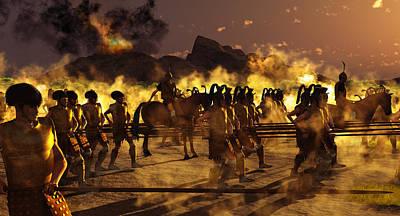 Greek Horse Digital Art - Mycenaean Troops Redeploying After Siege by Leone M Jennarelli