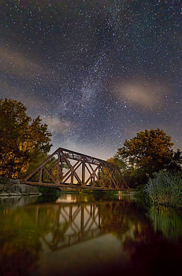 Finger Lakes Photograph - Myers Train Trestle By Night by Michele Steffey