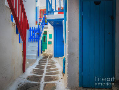 Greek Photograph - Mykonos Alley by Inge Johnsson