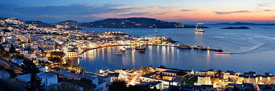 Photograph - Mykonos Bay Night by Songquan Deng