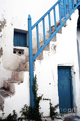 Photograph - Mykonos Blue Banister by John Rizzuto