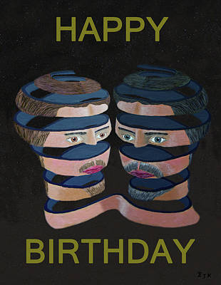 Las Vegas Artist Mixed Media - Mykonos By Night Happy Birthday by Eric Kempson