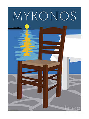 Digital Art - Mykonos Empty Chair - Blue by Sam Brennan