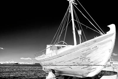 Photograph - Mykonos Fishing Boat Infrared by John Rizzuto