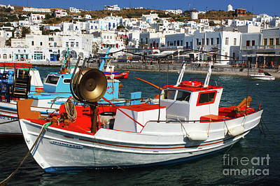 Photograph - Mykonos Greece Fishing Boats by Bob Christopher