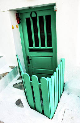 Photograph - Mykonos Green Door by John Rizzuto