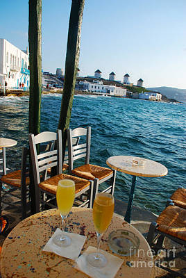 Aegean Sea Photograph - Mykonos Island Windmills Viewed At Seaside Bar by Just Eclectic