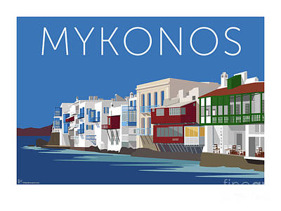 Digital Art - Mykonos Little Venice - Blue by Sam Brennan