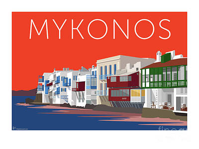 Digital Art - Mykonos Little Venice - Orange by Sam Brennan