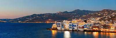 Photograph - Mykonos Little Venice Panorama by Songquan Deng