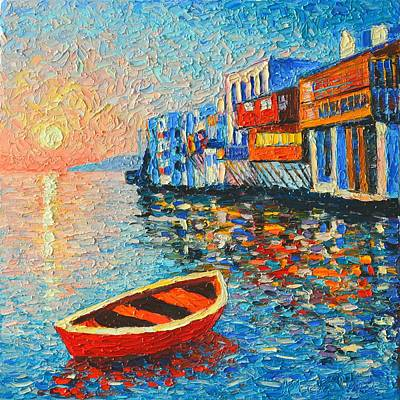 Village In Europe Painting - Mykonos Little Venice - Timeless Moment by Ana Maria Edulescu