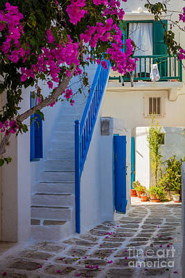 Greek Photograph - Mykonos Staircase by Inge Johnsson