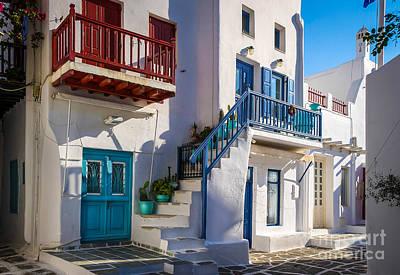 Mykonos Stairs And Balconies Art Print by Ken Andersen