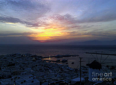 Built Structure Mixed Media - Mykonos Sunset Greece by Ioannis Kontogiannis