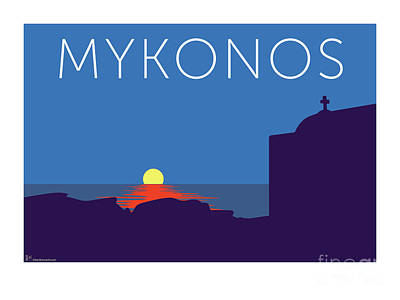 Digital Art - Mykonos Sunset Silhouette - Blue by Sam Brennan